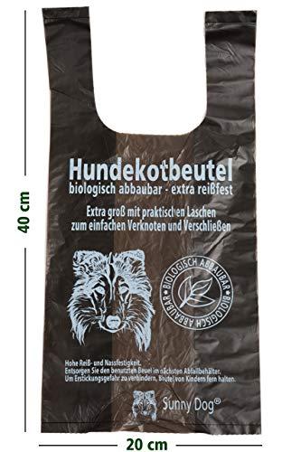 Sunny Dog Hundekotbeutel biologisch mit Henkel groß Hundekottüten kompostierbar (2 Rollen / 200 Beutel)