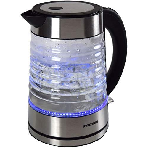 Syntrox Germany WK-2000W-1.7G Agua 2000 Watt 1,7 Liter Edelstahl schnurlos Glas Wasserkocher mit blauem LED Licht 360° cordess Wasserkessel Teekessel