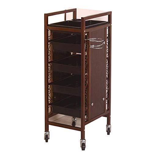 WQCART Metall Retro Professionelle Friseur Trolley Salon Friseur Schönheit Lagerung Haar Schubladen Roller Cart Spa,CopperA