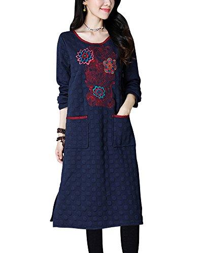 Donna grandi dimensioni lungo jumper vestito ricamo stampa casuale imbottito caldo rotondo collo manica lunga pullover abito blu scuro xl