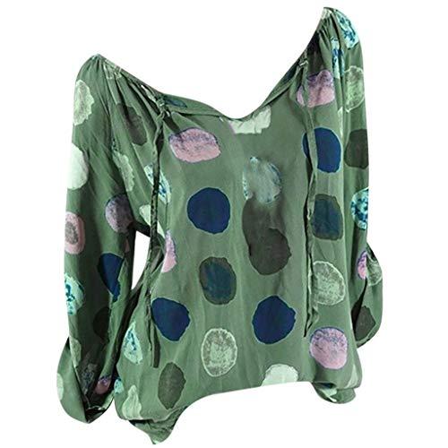 Frauen Large Size Langarm O/V-Ausschnitt Polka Dot Tunika Bluse Tops Shirt