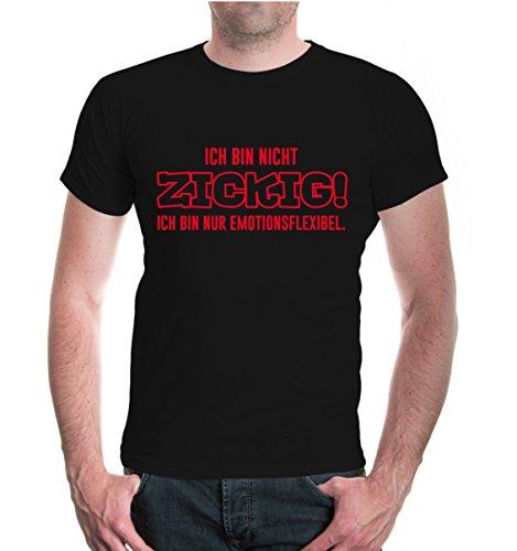 T-Shirt Ich bin nicht zickig. Ich bin nur emotionsflexibel-XL-Black-Red