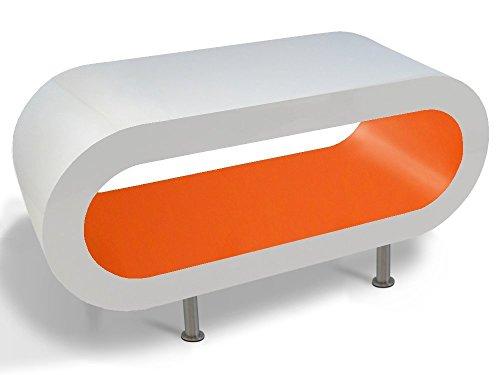 Zespoke Design Tableau Blanc Orange Cerceau Café TV/Meuble en Différentes Tailles