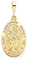 IceCarats 10k Yellow Gold Saint Christopher Medal Necklace Pendant Charm