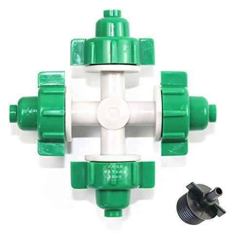 4 Agujero Invernadero Aspersor Agua Sistema Irrigación Jardín Pulverizador bajo Presión
