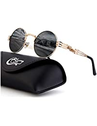 CGID E72 Steampunk estilo retro inspirado círculo metálico redondo gafas de sol polarizadas ...