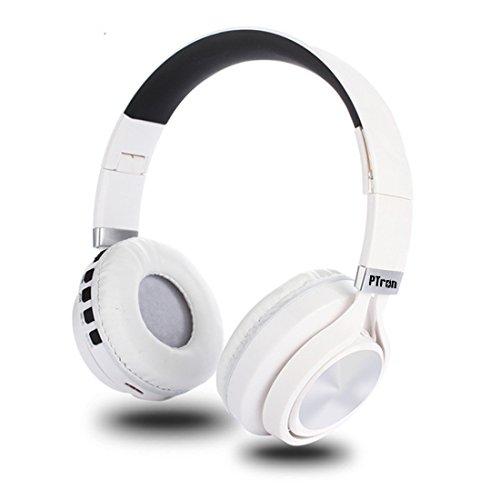 PTron Kicks Wireless Bluetooth, Wired Headphones (White, On Ear)