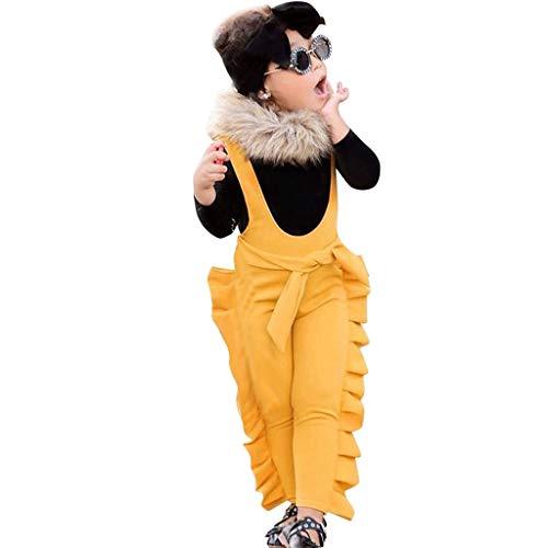 bobo4818 Kleinkind Baby MäDchen Solide Spitze T-Shirt Geraffte Hose HosenträGer Outfits Set (12-18 Months, Schwarz)