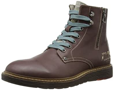 Replay Mens Cody Combat Boots RU050003L Dark Brown 8 UK, 42 EU