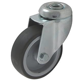 Apparaterollen 100mm Rad aus Gummi grau Befestigung Rückenloch als Lenkrolle ohne Bremse Transportrolle (Lenkrolle m. Rückenloch 100 mm)