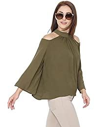 Martini Women Loose Cold Shoulder Long Sleeves Summer Rayon Top (Olive Green, X-Large)