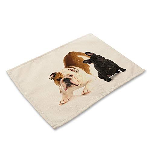 ZCHPDD Baumwolle Leinen Western Food Matte Französisch Bulldogge Hund Serie Druck 42 * 32Cm * 8 Stück -