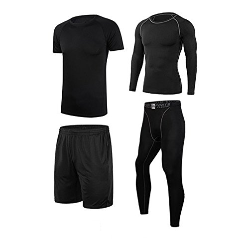 vogvigo-4-stucke-compression-schnell-trocken-trikot-trainingsanzug-fitness-langarm-shirtkurzes-hemdh