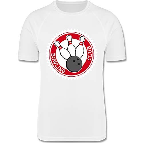 Sport Kind - Bowling Club Badge Abzeichen - 104 (3-4 Jahre) - Weiß - F350K - atmungsaktives Laufshirt/Funktionsshirt für Mädchen und Jungen