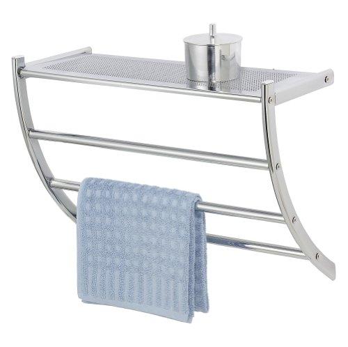 WENKO 15578100 Exclusiv Wandregal Pescara - mit Handtuchhalter und Ablage, Stahl, 56 x 46 x 21.5 cm, Chrom (Handtuchhalter Breit)