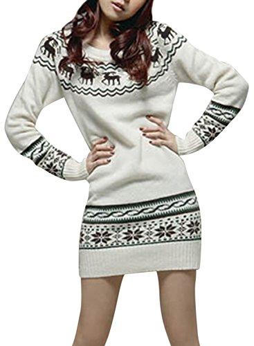 ACHICGIRL Women's Fairy Isle Pullover Knit Ugly Sweater Black