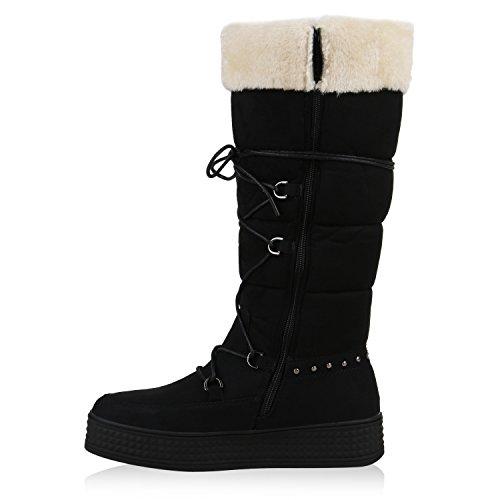 Stiefelparadies Warm Gefütterte Damen Stiefeletten Winterboots Stiefel Schuhe Flandell Schwarz Black