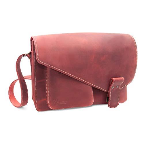 Made in Germany Premium Damen Umhängetasche Phoenix aus Vintageleder in rot antik inkl. Bio-Lederpflege von THIELEMANN