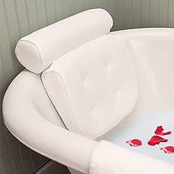 Essort Bath Pillow Spa, Bath Pillow with Suction Cups, Ergonomic Home Spa Headrest for Bathtub, Hot Tub, Jacuzzi, Home Spa (38 X 36 X 8.5 cm) White