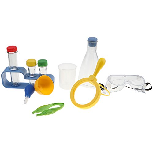 B Blesiya 11 Stück Wissenschaft Experiment Laborgeräte Spielzeug Set, Inkl Lupe, Pinzette, Tropfer, Flasche, Becher, Schutzbrille, Trichter und Haltebügel.