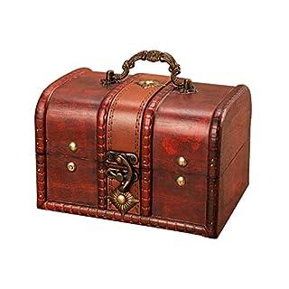 Sobotoo Vintage Wooden Jewellery Box Keepsake Storage Organizer Multipurpose Treasure Chest Trinket Holder with Metal Lock for Storing Jewelry Treasure Pearl (Large)