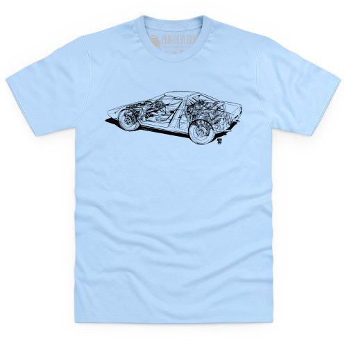 Lancia Stratos Cutaway T-Shirt, Herren Himmelblau