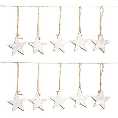 10 Stück weiße Holz-STERNE shabby chic vintage Weihnachts-ANHÄNGER ohne gemessen 7 cm als Baumschmuck Christbaumschmuck Christbaumanhänger Geschenkanhänger - Weihnachtsdeko zum Aufhängen