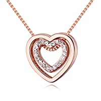 Gluckliy Crystal Double Heart Pendant Necklace, You Are always in My Heart Double Heart Hollow-out Necklace for Women (Rose Gold)
