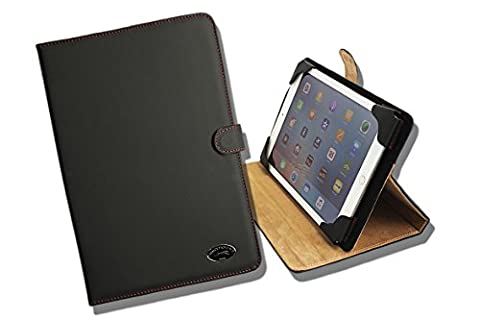 'Black/Red Executive Universal Real Leather Tablet Case Cover Case Skin + Cap/Magnetic Clasp, Adjustable Holder Bracket Shock Absorber Effect