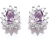 Tower Jewellery Amethyst and Cubic Zirconia Cluster Stud Earrings