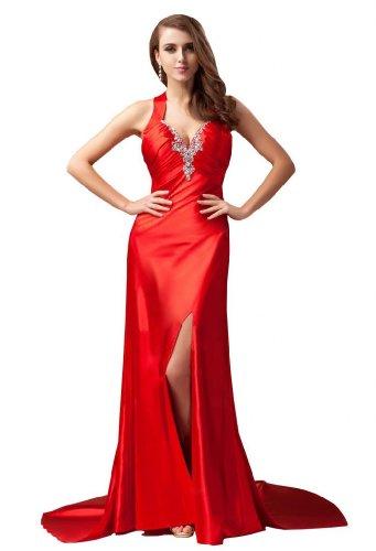 Sunvary Eyekepper-Abito da sera lungo con allacciatura dietro al collo, Celebrity Dress Red