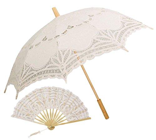 Sonnenschirm Spitze, COOFIT Brautschirm Mit Handfächer Damen Regenschirm Hochzeit Gesticktes Cotton Vintage Sonnenschirm Hochzeit