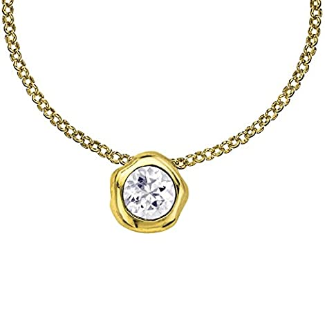Dower & Hall Dewdrop Yellow Gold Plated on Silver White Topaz Beaten Nugget Pendant on 46cm Chain