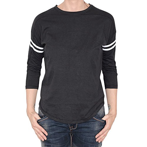 Urban Classics Ladies Pin Stripe 3/4 Sleeve Tee Girl-Longsleeve grau M (Tee Sleeve 3/4 Neck)