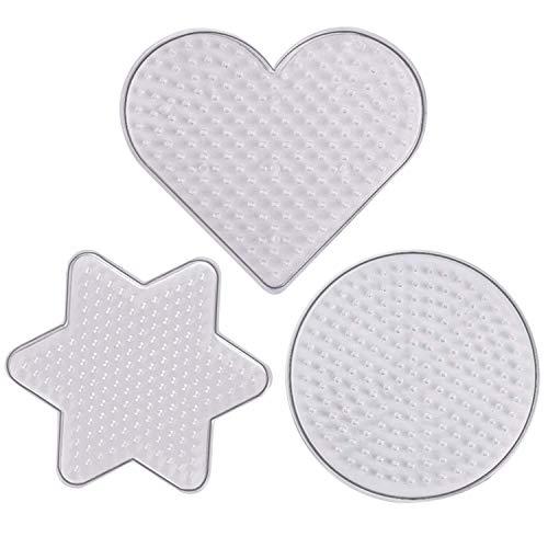 Joyibay 3 Stück Perler Perle Pegboard Runde Hexagramm Herz Kunststoff Pegboard Sicherung Bead Board