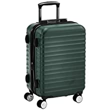 AmazonBasics Premium Hardside Spinner with Built-In TSA Lock - 55 cm, Green