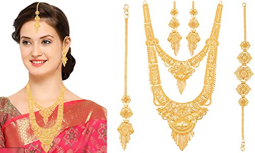 Mansiyaorange Party One Gram Gold Wax Forming Work Rani Haar/Juelry/jwelery/Jualary/Long Neckalce//Jewellery Set for Women(9 Inch Long)