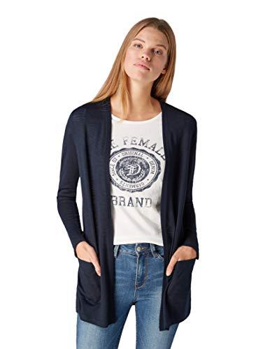 TOM TAILOR Denim Damen T-Shirt Jersey Cardigan Blau (Sky Captain Blue 10668) Medium
