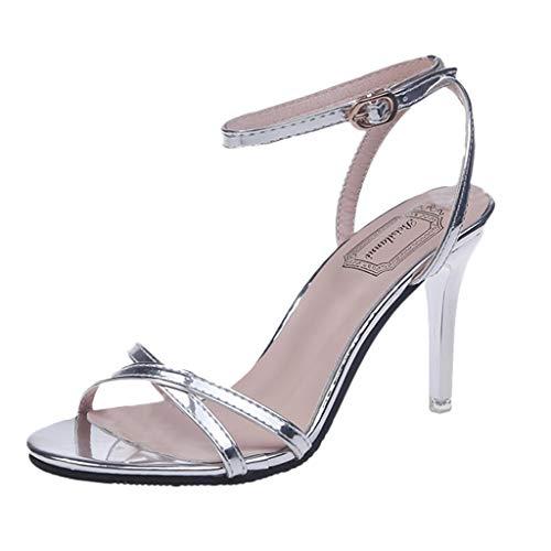 feiXIANG Damen Sandalen Mode Frauen Slingback Klassische Pumps Frauen Absatzschuhe(Silber,36) -