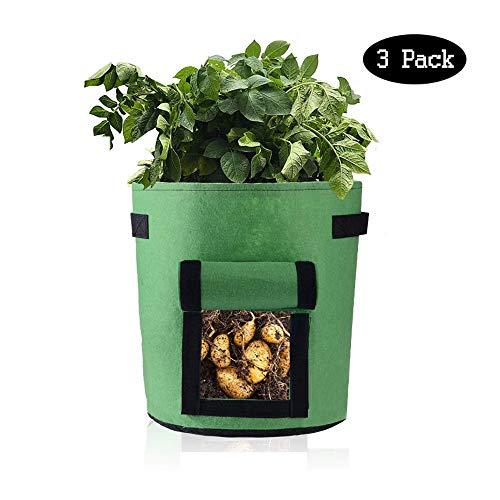 Kartoffel Pflanzsack/Pflanzsack/Kartoffel-Zuchtbehälter Insgesamt 3 Stück/Mit Klettfenster/Griffe/Klappe Für Verschiedene Gemüsesorten