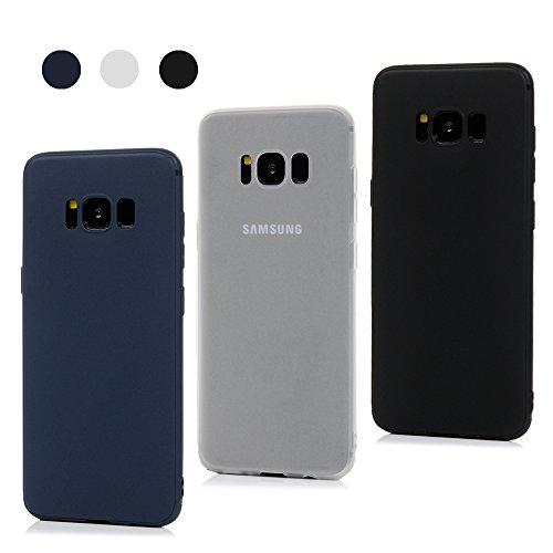 3x Funda para Samsung Galaxy S8, Carcasa Silicona Gel Case Ultra Delgado TPU Goma Flexible Cover para Samsung Galaxy S8 - Negro + Azul Oscuro + Translúcido