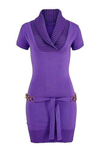 Melrose Damen-Kleid Strickkleid mit Gürtel Violett Größe 40