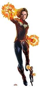 Star Cutouts SC1302 Capitán Marvel Recorte de tamaño real con mini cartón Standee Carol Danvers Brie Larson 177 cm de altura, perfecto para aficionados, coleccionistas, fiestas y eventos, multicolor