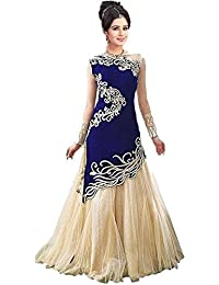 Cative Company Self Design Semi Stitched Ghagra Choli (Blue)