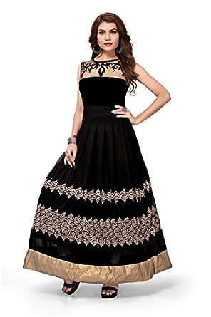 Royal Export Women's A-Line Knee-Long Dress (Vell_Blak_XS_Black_X-Small)