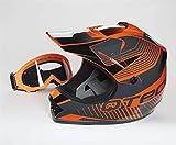 Qtech Casque de Moto pour Enfant avec Lunettes de Protection Motocross Cross Noir Mat - Orange - S