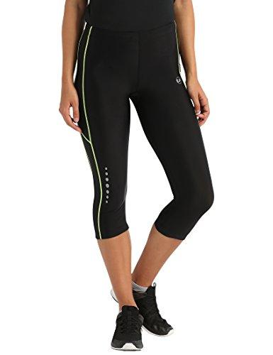 Ultrasport Pantalones pirata de correr para mujer con efecto de compresión y función de secado rápido, Negro/Amarillo Neón, XS