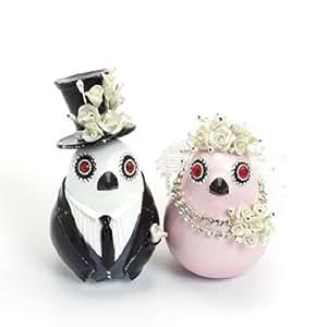 Sweet Figurine pour gâteau de mariage Couple de mariés oiseaux en céramique fait main et B0011 Bridal Shower de mariage marié et mariée petits oiseaux Couple Décoration-Table de réception-Céramique