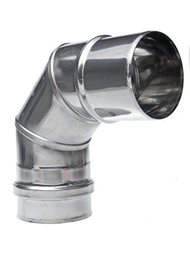 Preisvergleich Produktbild Winkel Edelstahl DN 80x87 80mm Schornstein Sanierung Rauchrohr Ofenrohr Abgasrohr