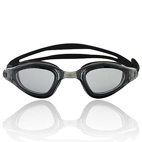 »Shark« Schwimmbrille / 100% UV-Schutz + Antibeschlag / Starkes Silikonband + stabile Box / AF-1800 / schwarz